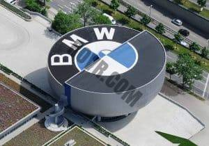 Sky view of the iconic BMW Museum in Munich