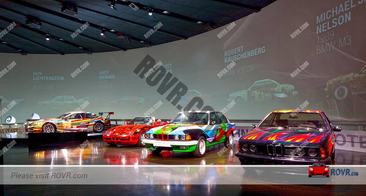 On display are Art Cars that can be seen at the BMW Museum Tour