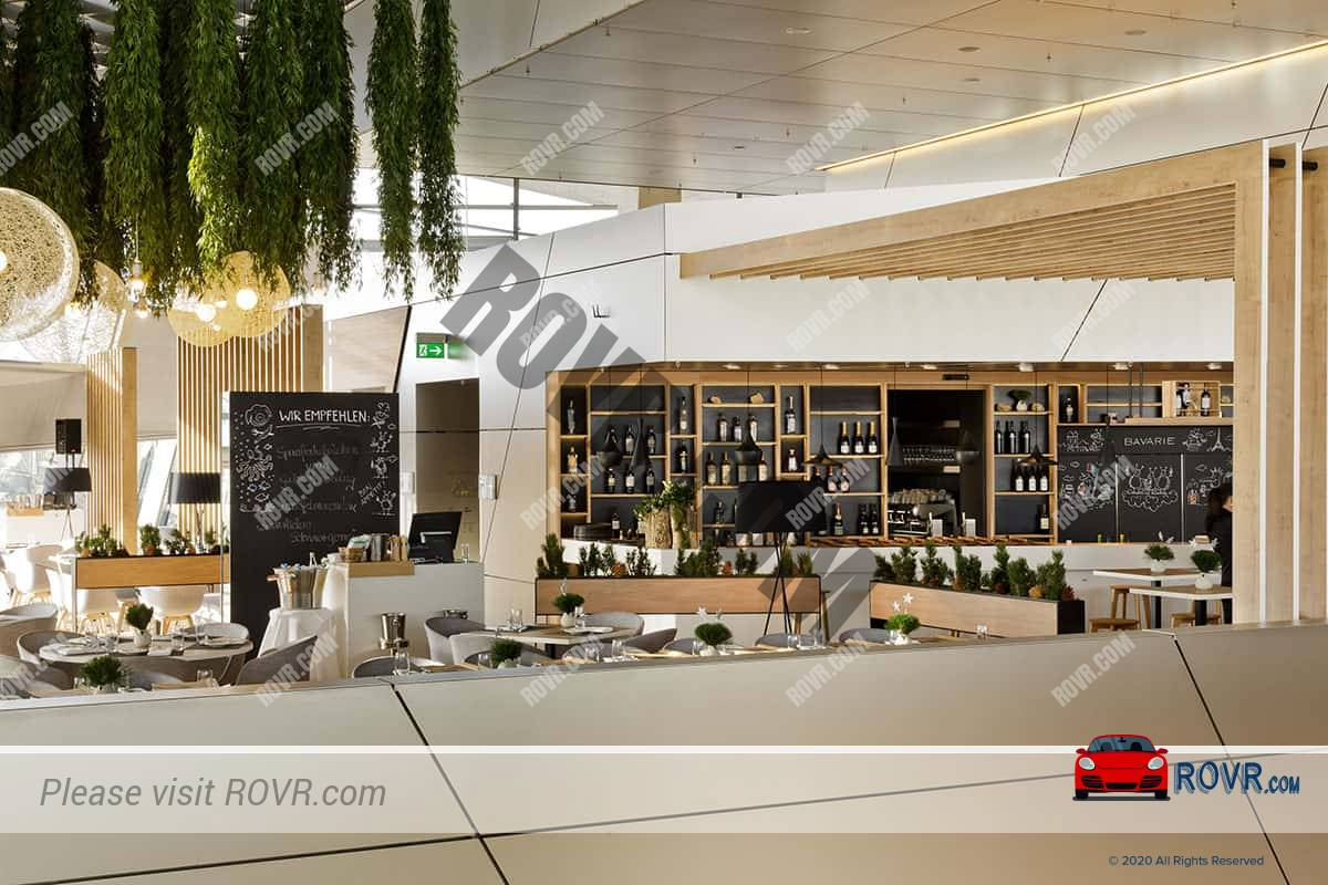 A view inside the Bavarie Brasserie Restaurant at the BMW Welt in Munich