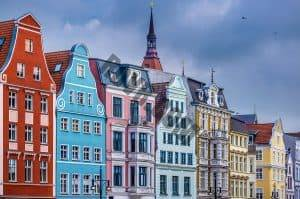 Row of Historic Buildings in Rostock, Germany